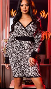 Elegant knit dress wrap look with pattern Black