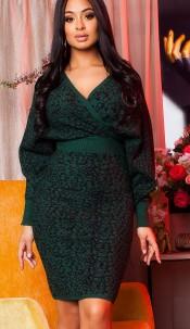 Elegant knit dress wrap look with pattern Green
