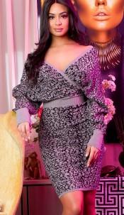 Elegant knit dress wrap look with pattern Grey