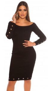 Sexy ribbed knit dress with eyelets Black