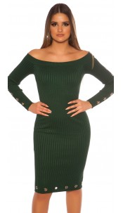 Sexy ribbed knit dress with eyelets Green
