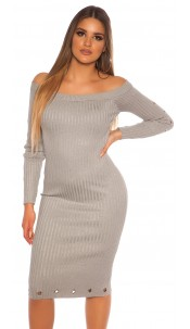 Sexy ribbed knit dress with eyelets Grey