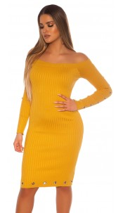 Sexy ribbed knit dress with eyelets Mustard