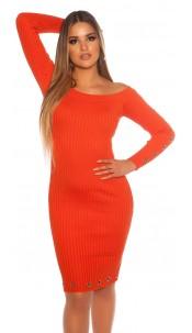 Sexy ribbed knit dress with eyelets Orange