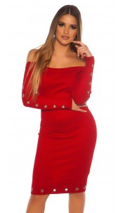 Sexy ribbed knit dress with eyelets Red