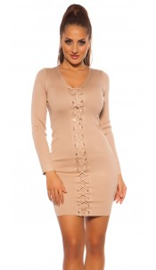 Sexy knit mini dress with lacing Beige