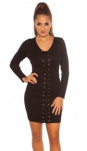 Sexy knit mini dress with lacing Black
