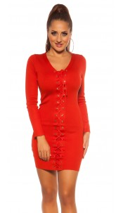Sexy knit mini dress with lacing Strawberryred