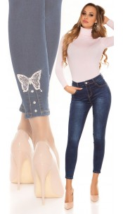 Sexy high waist jeans with rhinestone butterfly Jeansblue
