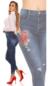 Sexy high waist jeans with patch USed look Jeansblue