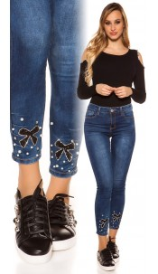 Sexy high waist jeans with glittery bow Jeansblue