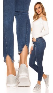 Sexy skinny High Waist jeans Pearls & rhinestones Jeansblue