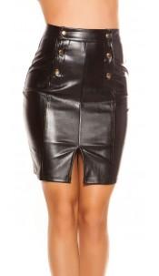 Sexy Leatherer look miniskirt Highwaist Black