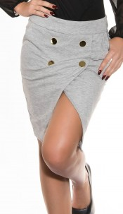 Sexy Midi-skirt with wrap-optics Grey