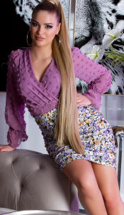 Sexy Mini skirt with flower print Lilac