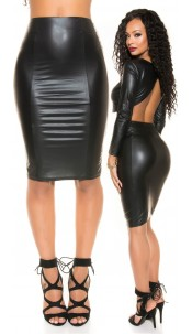 Sexy KouCla Wetlook pencil skirt with zip Black