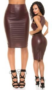 Sexy KouCla Wetlook pencil skirt with zip Bordeaux
