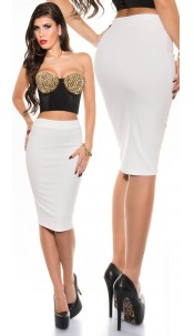 Sexy KouCla pencil skirt White
