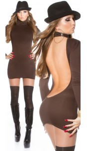 Sexy Minidress with poloneck backfree!! Brown