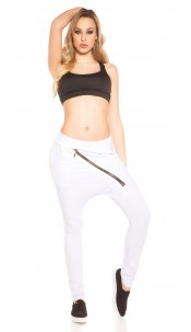 Sexy sweat pants with low crotch zipper White