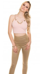 Sexy Crop V-Cut Top with necklace Pink
