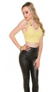 Sexy Crop V-Cut Top with necklace Yellow