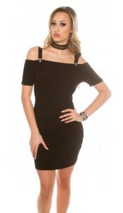 Sexy ripp Off shoulder mini dress removabel straps Black