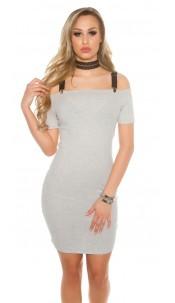 Sexy ripp Off shoulder mini dress removabel straps Grey