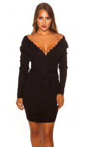 Sexy Longsleeve knit dress wrap look Black