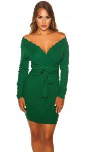 Sexy Longsleeve knit dress wrap look Green