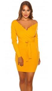 Sexy Longsleeve knit dress wrap look Mustard