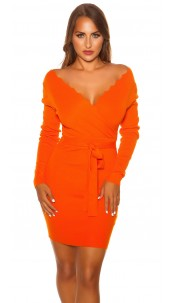 Sexy Longsleeve knit dress wrap look Orange