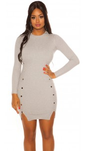 Sexy Longsleeve Knit dress Grey