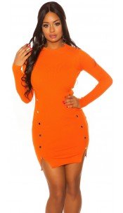 Sexy Longsleeve Knit dress Orange