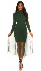 Sexy Rib Knit Dress with Chiffon overskirt Green