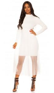 Sexy Rib Knit Dress with Chiffon overskirt White