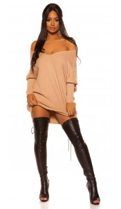 Trendy XXL knit dress with bow Beige