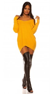 Trendy XXL knit dress with bow Mustard