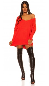 Trendy XXL knit dress with bow Red