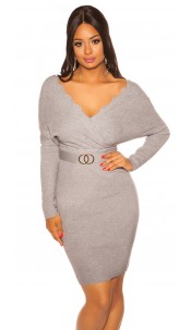 Sexy bat sleeve knit dress Grey