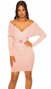 Sexy bat sleeve knit dress Pink