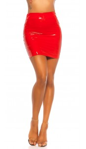 Sexy Latex Look Mini skirt Red