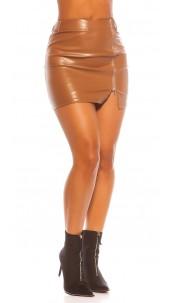 Sexy Koucla Leatherlook Miniskirt Bronze