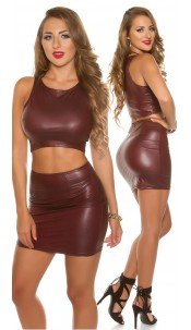 Sexy KouCla Wetlook Mini skirt Bordeaux