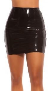 Sexy latexlook mini rokje zwart