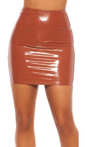 Sexy Koucla Latexlook mini skirt Bronze