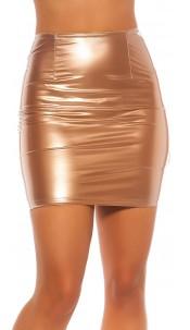 Sexy latexlook mini rokje goud