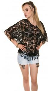 Sexy bat crochet top Coachella Style Black