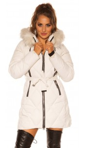 Sexy winter jacket w. Zips, belt + fake fur Hood Beige