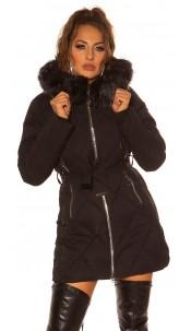 Sexy winter jacket w. Zips, belt + fake fur Hood Black